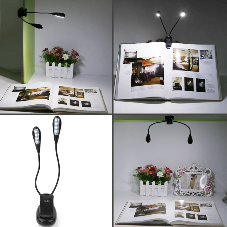 USB 4 LED Book Lamp Rechargeable Flexible travel reading USB
